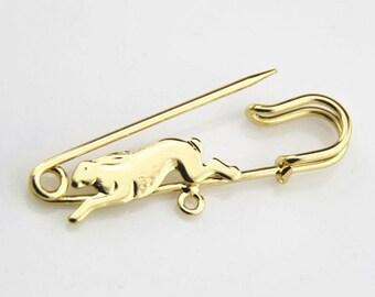 6 pcs of rabbit brooch 50mm-M5005-18k gold