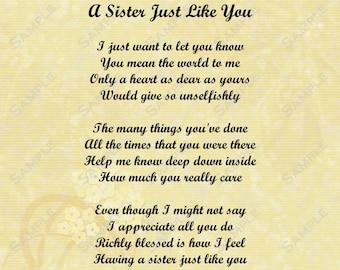 Sister Love Poem 8 X 10 Print