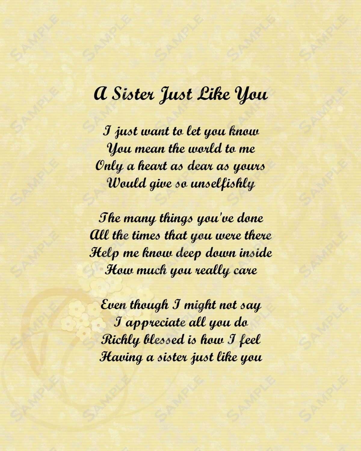 Love My Sister Quotes And Poems Sister love poem 8 x 10 printFuture Sister In Law Poems