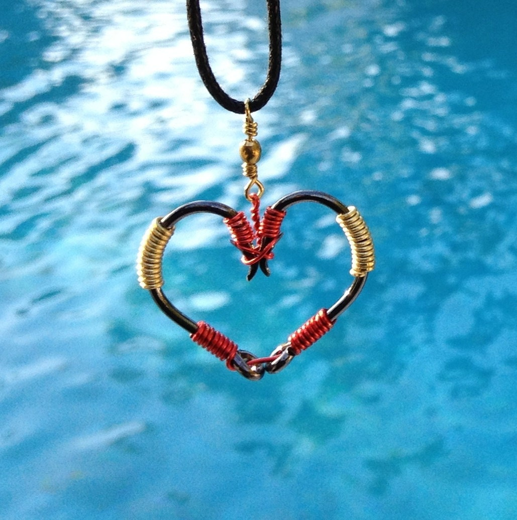 Fish hook heart necklace red and gold on black hooks for Fishing hook necklace