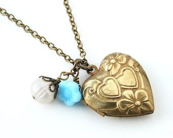 Vintage Locket Gold Heart Locket Heart Pendant Charm Blue Flower White Pearl Bead Gift For Her Lillian Fine Jewelry