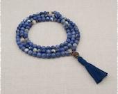 Blue Sodalite Mala Beads - Prayer Necklace - Intuition & Perception - Meditation Jewelry - Item # 932