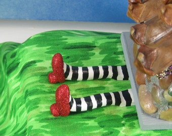 Wicked Witch's Feet with Ruby Slippers for Fairy Garden OOAK