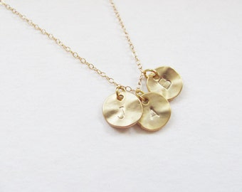 Three Initials Necklace, Personalized Necklace, Bridesmaid Necklace, Three Gold Initials Necklace, Dainty Necklace, Bridesmaid Gift