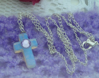 COMMUNION, Easter OPALITE MOONSTONE cross pendant  with lilac crystal cab & chain.