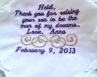 Embroidered Mothers of the Groom Handkerchief Wedding Keepsake