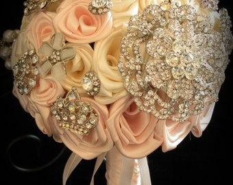 Custom Pink & Ivory Brooch Bridal Bouquet