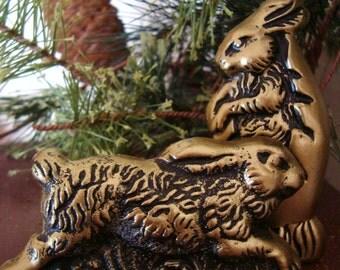 2 Antiqued Bronze BUNNY RABBIT Blackened Beeswax Primitive Chocolate Mold Wax Castings Folk Art