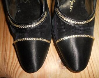 Vintage Stanley Philipson Black high heel Slingback 7 1/2 M dressy shoes