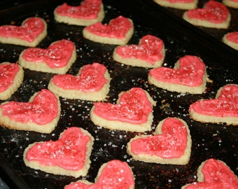 Heart Homemade Cream Cheese Butter Cookies w/ Buttercream Frosting (any color)
