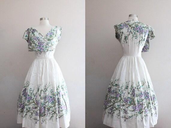1950s Floral Dress 50s/60s Vintage Scuderi Italian Cotton