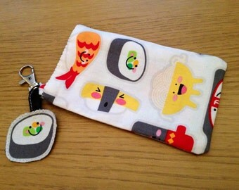Cute sushi iPhone cotton pouch