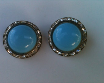 Vintage Costume Jewlery Earrings in Robin's egg shell Blue surrounded  by white rhinestones