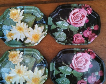 Floral Mini Serving Trays set of 4