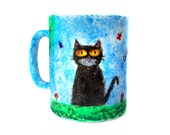 Hand Painted Cat Mug, Hand Painted Ceramic, Cat Cup, Milk, Tea, Coffee, OOAK - ThreeLittleCatsShop