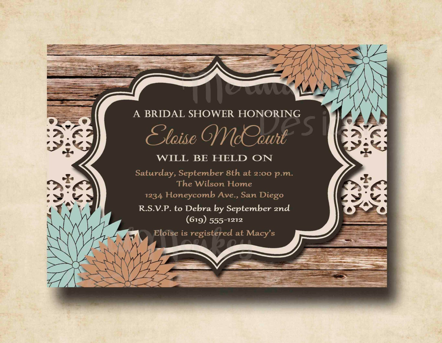 Rustic Bridal Shower Invitation Wedding by MermaidMonkeyDesigns
