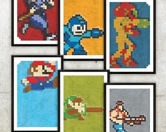 "Retro NES Series 2 Poster Set: Ninja Gaiden, Mega Man, Metroid, Mario, Zelda & Contra inspired prints 11X17"""
