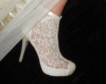 Wedding shoes, Lace wedding ivory shoes designed specially  #8438
