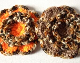 Crochet Flower Brooch, Small Leopard Print Flower, Orange Blossom PinLeopard Print Trim, Brown Flower Brooch, Knit Yarn Flower,