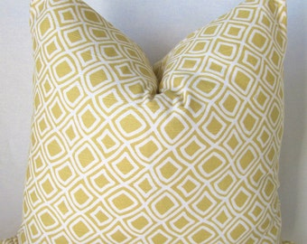 Decorator Pillow Cover - Yellow - White - Duralee- Kilburn-  Accent Pillow