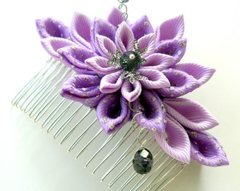 Kanzashi Fabric Flower hair comb . Orchid.