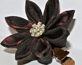 Black and red kimono fabric kanzashi hair flower clip with rhinestone snowflake center