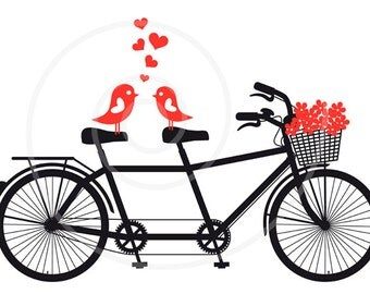 Printable wedding invitation, wedding anniversary, unique wedding gift, tandem bicycle with love bird, save the date, announcement, download