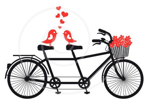 Tandem Bike Wedding Invitations: Tandem Bicycle With Love Birds Wedding Invitation By Illustree