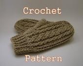 PDF Crochet Pattern - Fisherman Mittens, Men's - Instant Download