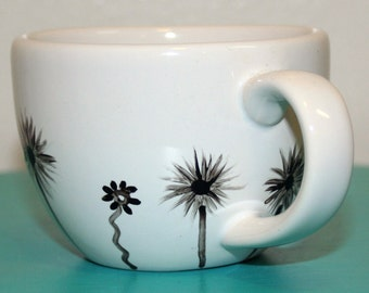 Sprouting Floral Motif Black Silhouette Hand Painted Flowers on White Ceramic Mug Coffee Espresso Tea Cup Hot Cocoa