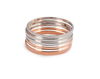 6 Knuckle Rings - 3 rose gold knuckle ring and 3 silver knuckle rings - set of 6 knuckle rings