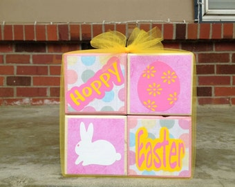 Hoppy easter happy easter wood block set holiday decoration easter bunny easter egg