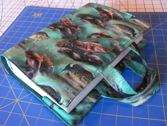 Items similar to green fish fabric book or bible cover on etsy for Book with fish on cover