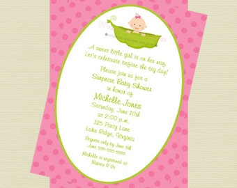 Printable Girl Pea in a Pod Baby Shower Invitation