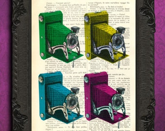 Antique camera art print, cmyk