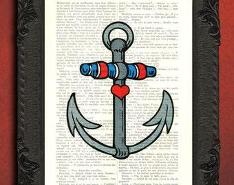tattoo art print, old school tattoo, anchor tattoo