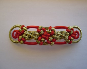 Cross Knot barrette gold&red