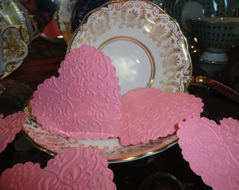 Victorian Pink Lace Valentine Heart Die cuts Set of 10