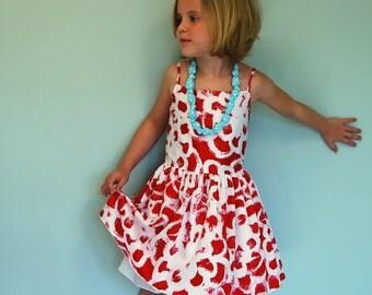 Girls dress with spaghetti straps - girls Sundress 4 5 6 7 8 - girls modern red floral summer dress