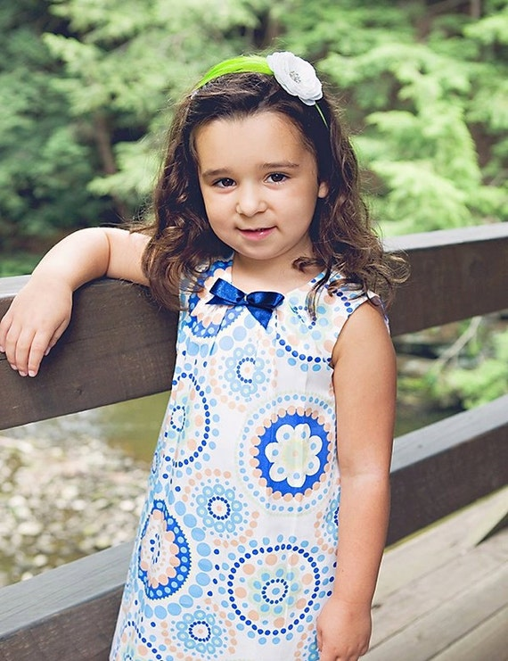 Summer girls dress D5 spring baby white blue with bow