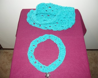multicolored yarn handmade crochet COWL and NECKLACE gift set for mothers day
