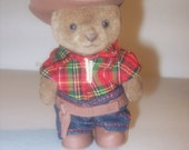 RESERVED Vintage cowboy bear toy 100% animal charity item