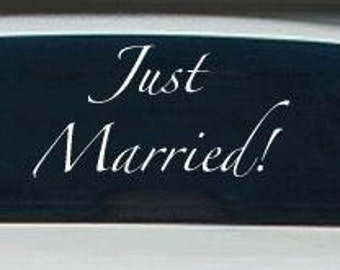 Just Married Vinyl Lettering Decal Sticker For Auto Car Truck Back Windshield or any Glass