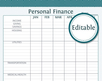 Personal Finance - Fillable - Instant Download - Printable PDF