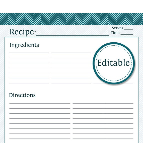 Recipe Card, Full Page - Fillable - Printable PDF - Instant Download