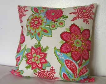 One Sided Annie Selke Fabric Floral Designer Pillow Cover- Raspberry on White