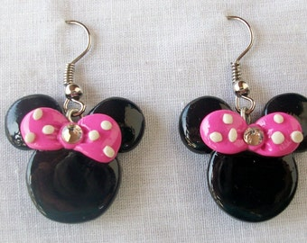 cute minnie mouse earrings with  bow in all colors