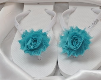 Custom WEDDING Flip Flops BRIDESMAID Flip Flops Bride Flip Flops, Personalized Flower Flip Flops, Bridal Party Gift, Beach Wedding