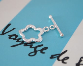 1 Set, Toggle Clasp, 925 Sterling Silver, Flower shape Toggle Clasp, Jewelry Supplies, DIY Suppies