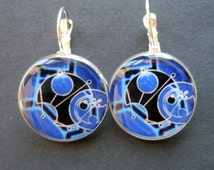 Dr Who Gallifreyan Symbols 20 mm Silver Plated Drop Style Earrings